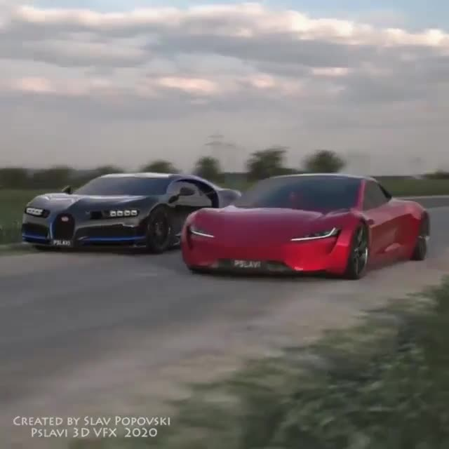 Khi Tesla Roadster đấu với Bugatti Chiron nhưng ở phiên bản 3D trông sẽ thế nào?