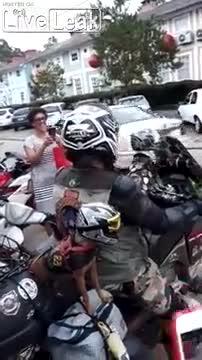 Hai chú chó đội mũ bảo hiểm ra đường khiến nhiều người thích thú