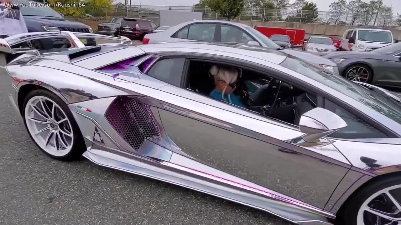Lamborghini Aventador SVJ với lớp wrap chrome 3D lóa mắt