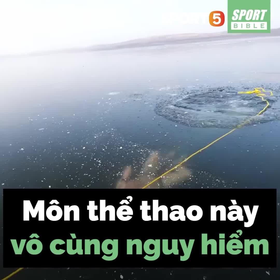 Môn thể thao mạo hiểm nhất thế giới: Lặn không đồ bảo hộ, không bình oxy dưới nước đóng băng