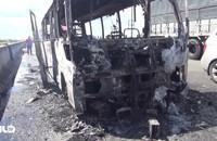 Xe khách cháy ngùn ngụt trên cáo tốc Trung Lương