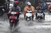 Mưa lớn, nhiều tuyến đường ở TP Bạc Liêu ngập nặng