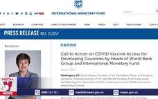 WB và IMF kêu gọi G7 chia sẻ vaccine ngừa COVID-19